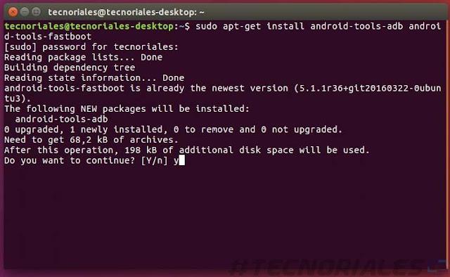 descarga de adb y fastboot en terminal de ubuntu