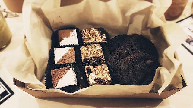 walnut fudge, granola bites and double chocolate cookies