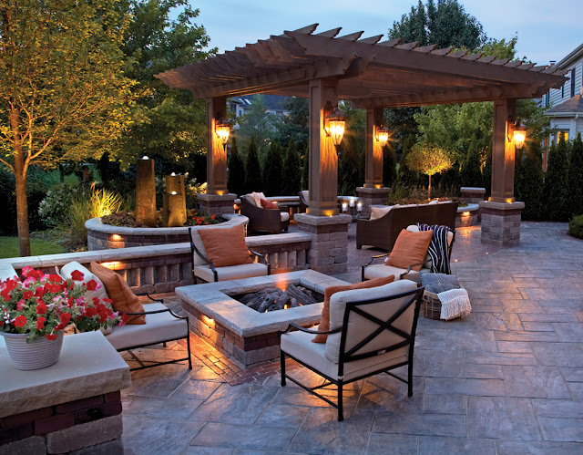 captivating outdoor patio ideas with modern square fire and white outdoor armchairs
