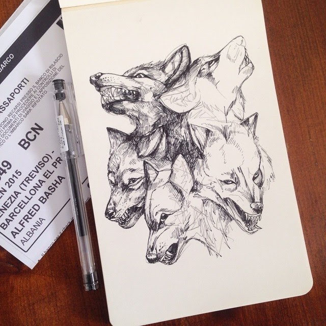 06-Wolfs-on-my-flight-to-Barcelona-Alfred-Basha-Diverse-Black-and-White-Surreal-Drawings-www-designstack-co