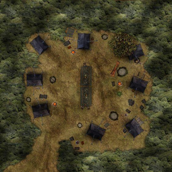 Um acampamento.