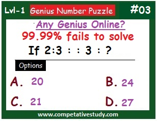 Number Math Puzzle: If 2 : 3 :: 3 : ? . Find the missing number.