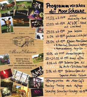 Veranstaltungen, Flyer, Moorscheune