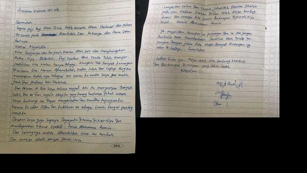 Surat Wasiat Terduga Bom Bunuh Diri, ditulis Dian Yulia Novi (DYN) yang beredar di media sosial