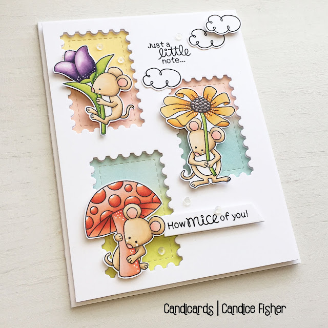Just a Little Note Card by April Guest Designer Candice Fisher | Garden Mice Stamp Set and Framework Die Set by Newton's Nook Designs #newtonsnook #handmade