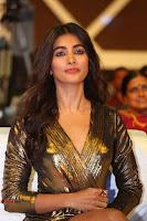 Pooja Hegde looks glamarous in deep neck sleevless short tight golden gown at Duvvada Jagannadham thank you meet function 124.JPG