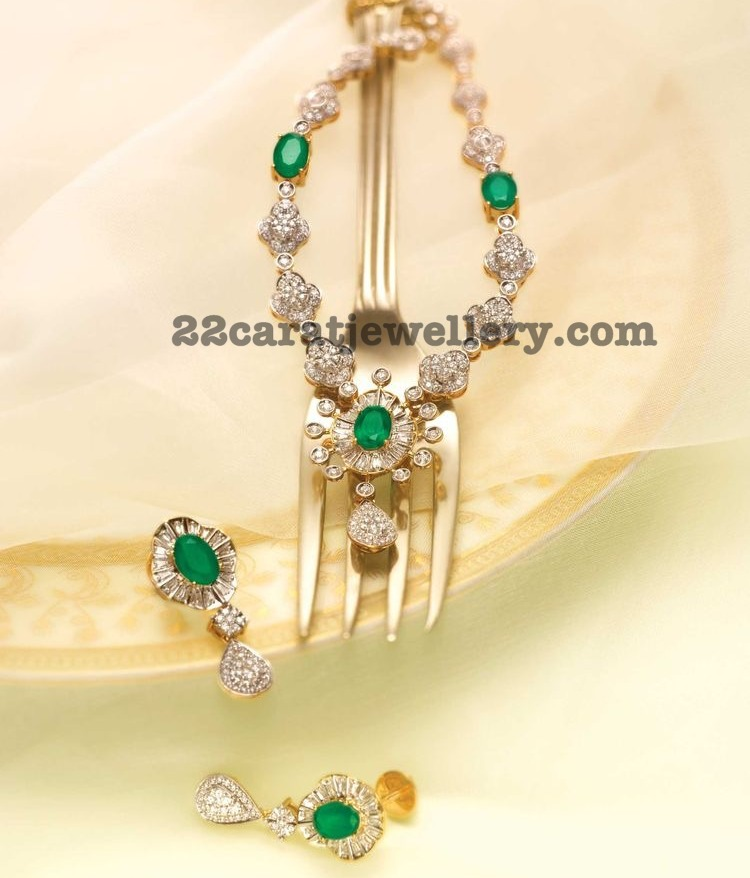 Classic Diamond Emerald Set by Tanishq - Jewellery Designs
