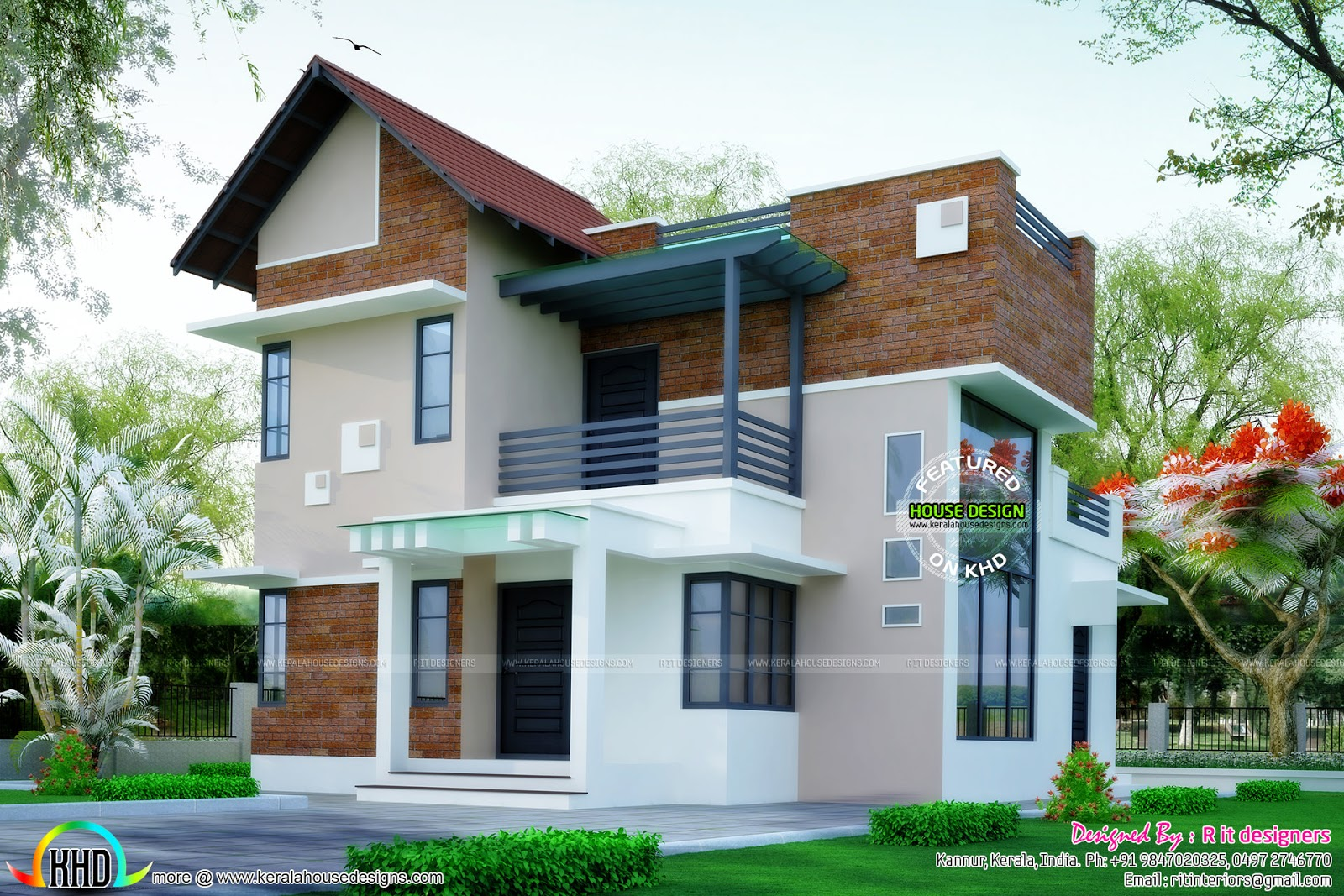 Brick Wall Mix Modern House Plan Kerala Home Design