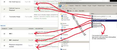Module IMCE dan Plupload yang sudah terinstal di drupal