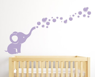 Purple bedroom ideas: Elephant purple wall decal