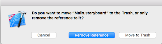Main.storyboard, so delete it and tap on 'Move to trash'.