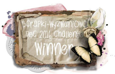 "My artwork ""Want to believe"" is winner in Scrapki-Wyzwaniowo challenge/December'16"