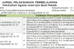 Download Jurnal PAI Kelas 6 SD/MI Semester 2 K13 Revisi 2018