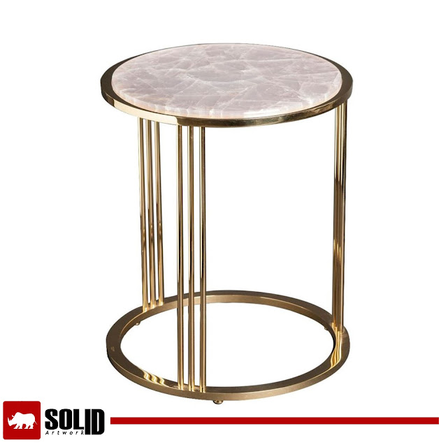 Round side table of gilt brass