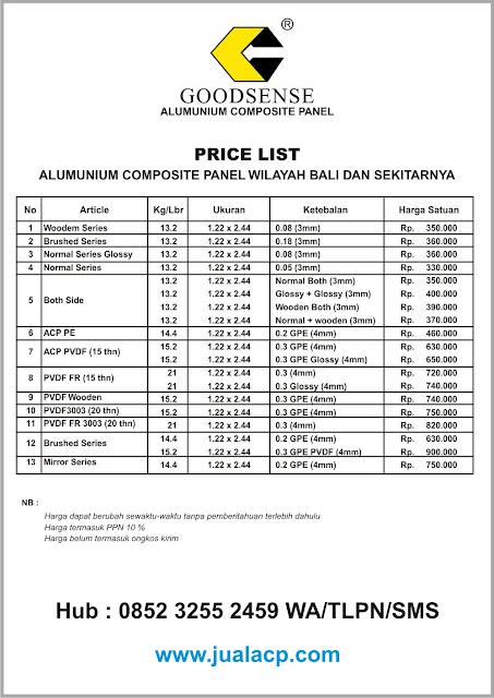daftar harga acp goodsense per lembar di Bali