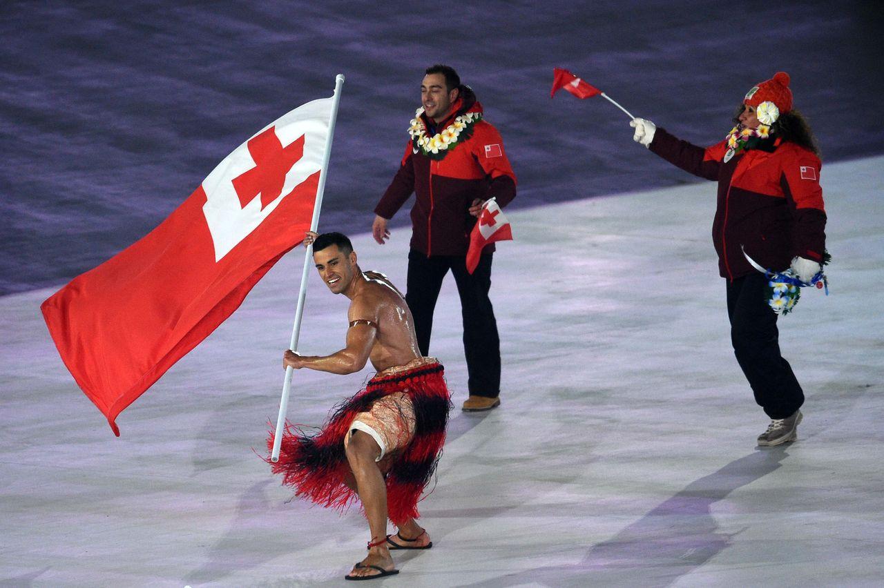 Pita Taufatofua, tonga, the parade of athletes, opening ceremony, Pyeongchang 2018 Olympic Winter Games