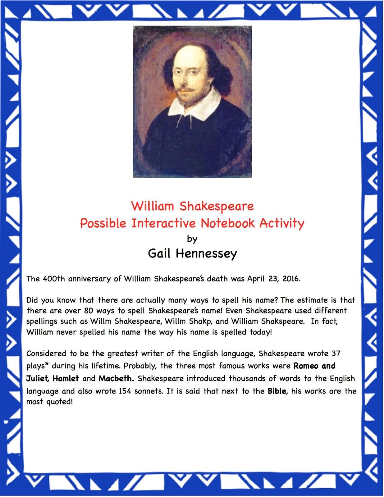 Shakespeare Week Has Begun Interactive Notebook Activity