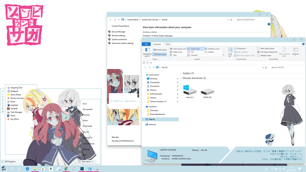 Theme Anime Windows 10 version 1803 Zombie Land Saga
