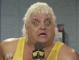 WWF / WWE - Wrestlemania 6: Dusty Rhodes and Saphire faced Randy Savage and Sensational Sherri. Rhodes' face says it all