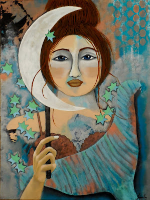 Mermaid and Patina Moon Original Contemporary Folk Painting by Jeanne Fry