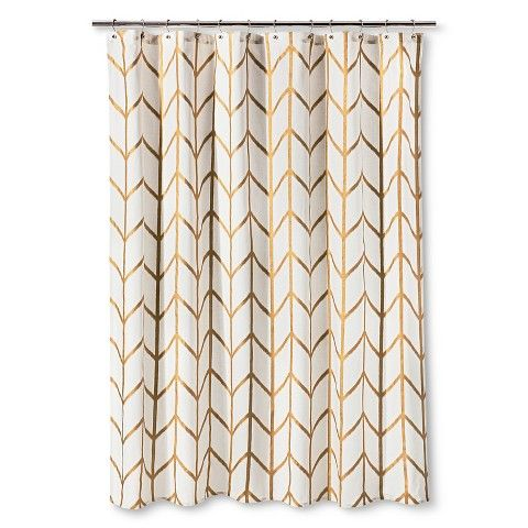 What I'm Loving Right Now: Ikat. Incorporate this trend into your home with this gold Ikat shower curtain!