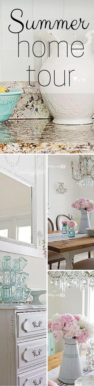 aqua pink french coastal style summer home decorating