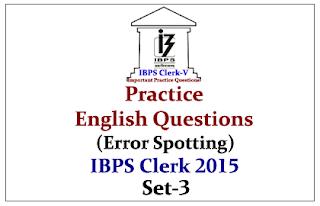 Race IBPS Clerk 2015- Practice English Questions (Error Spotting) Set-3