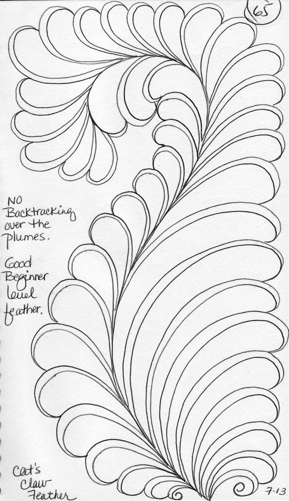 luann kessi  quilting sketch book    cat u0026 39 s claw feather tutorial