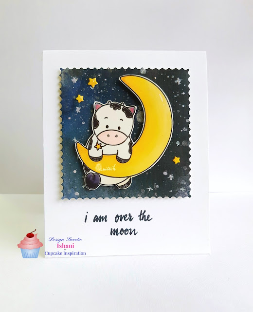 cow barely over the moon card kitty bee designs, Digital stamp, kitty bee designs, Tombow dual brush pens, night sky watercoloring, night scene, background for cards, watercoloring for cards, quillish, made by ishani, love you card, cowstampcard, galaxy painting, hand painted galaxy, galaxy sky