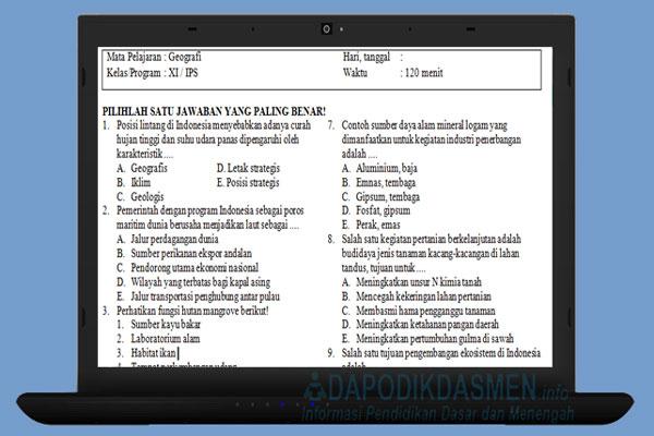 Soal PAT UKK Geografi SMA MA Kelas 11 Kurikulum 2013 Tahun 2019