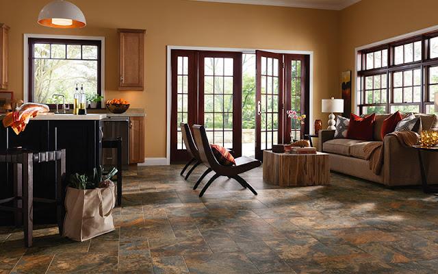 natural stone tile flooring in big kitchen