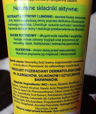 Krem do rąk i paznokci glicerynowy wygładzający cytryna limonka i olejek rycynowy