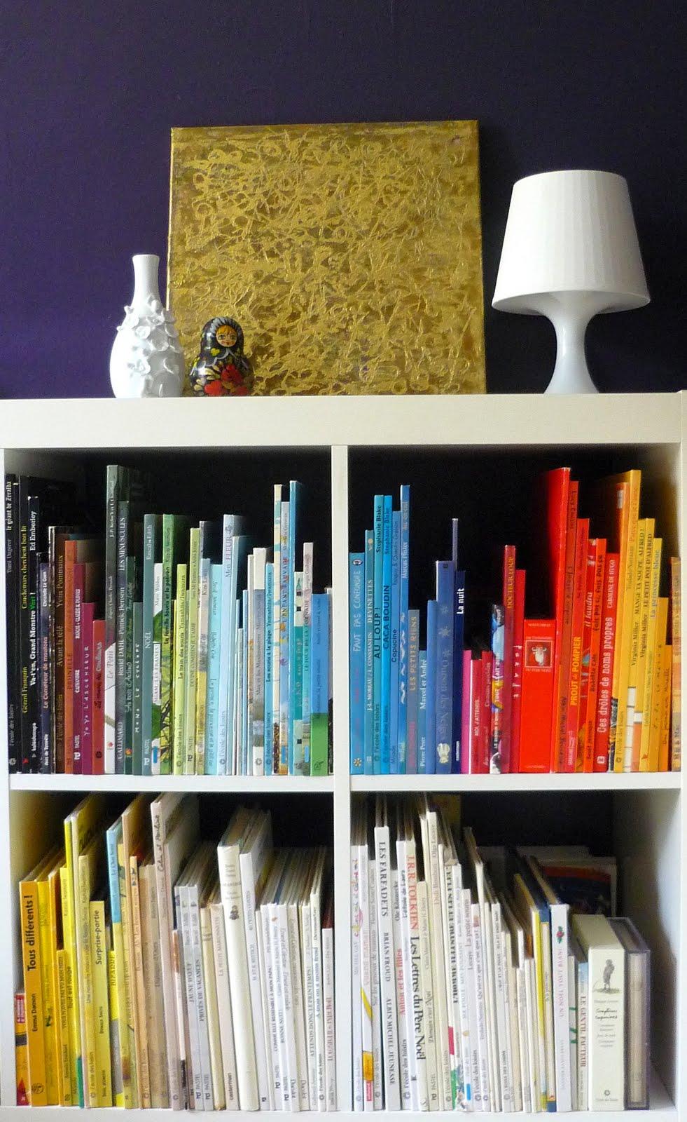 douceurs et couleurs une autre fa on de ranger ses livres. Black Bedroom Furniture Sets. Home Design Ideas
