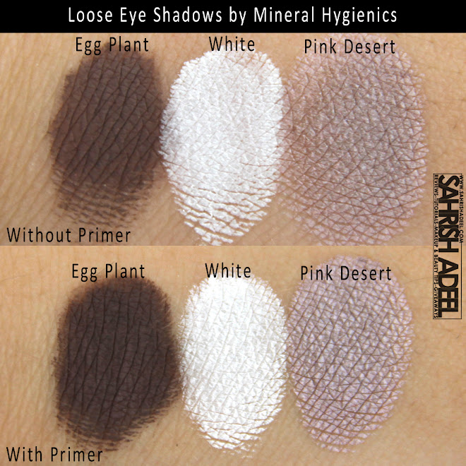 Mineral Hygienics' Loose Eye Shadows in 'Egg Plant, White & Pink Desert' - Review & swatches