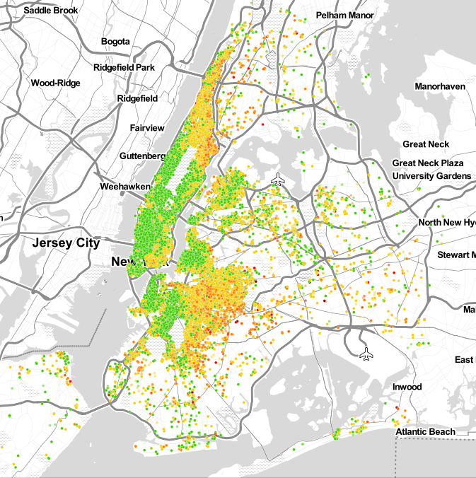 NYC neighborhoods, rated by Airbnb guests.