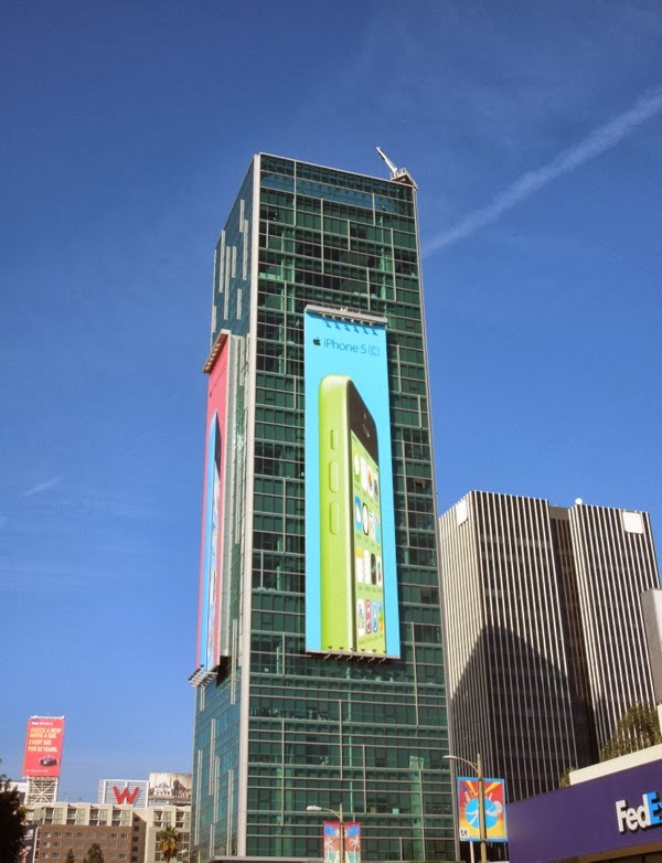 Giant green iPhone 5c billboard
