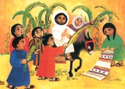 Dibujo del Domingo de Ramos a color para niños