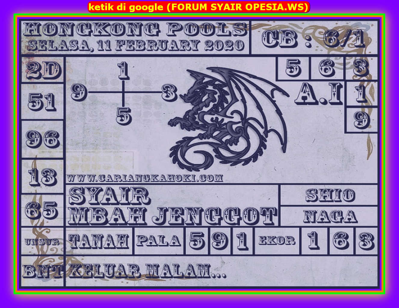 Kode syair Hongkong Selasa 11 Februari 2020 171