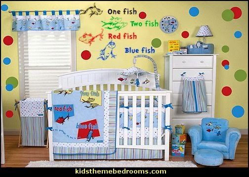 Dr. Seuss One Fish Two Fish  Nursery Bedding  Dr. Seuss Hat Shaped Wall Clock  Dr Seuss bedroom ideas - Dr.Suess bedroom decor - Dr Seuss Bedding - dr. seuss nursery - decorating ideas cat in the hat theme bedrooms - Dr Seuss wall decal stickers - DR SEUSS wall mural decal - Dr. Suess playroom ideas - Dr. Seuss Plush Toys