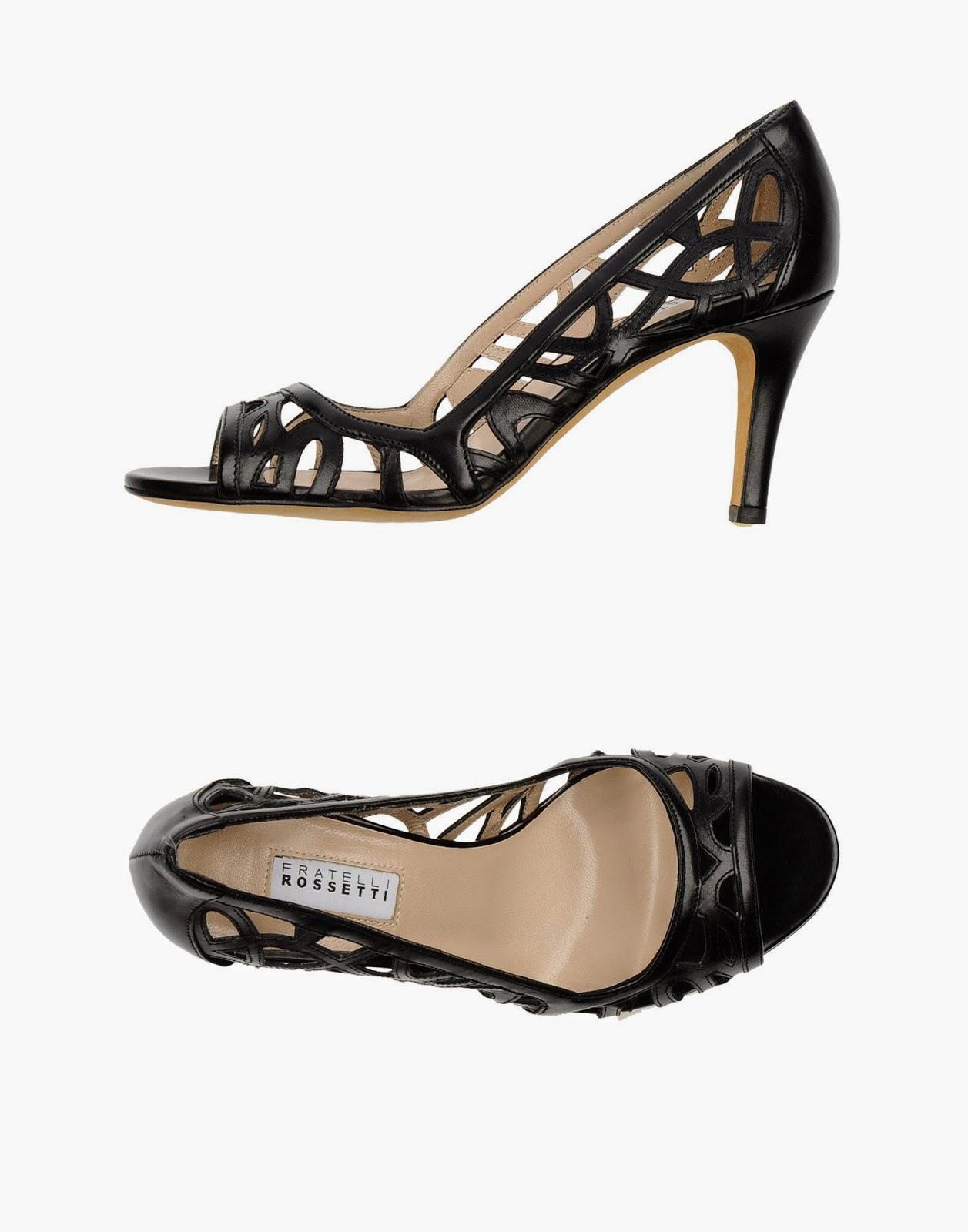 Sexy lace cutout leather heels