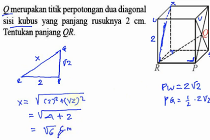 Q merupakan titik perpotongan dua diagonal sisi kubus yang panjang rusuknya 2 cm. Tentukan panjang QR.