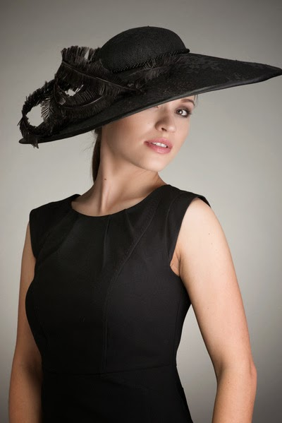 2545920e9e21a Royal Ascot Hat. Large Brimmed Hat with Large Ostrich Feathers. Black ...