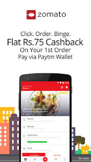 Zomato- Flat 75 Cashback on 400 on First Transaction through Paytm- Food Worth Rs.500 for Rs.325