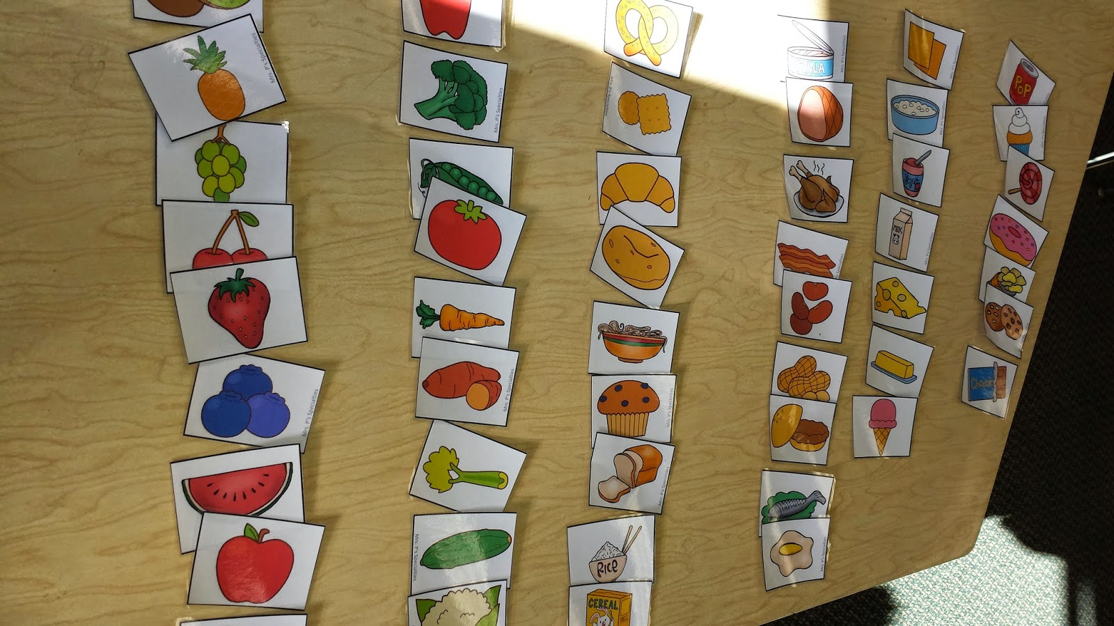 photo of the picture cards we were sorting by food group