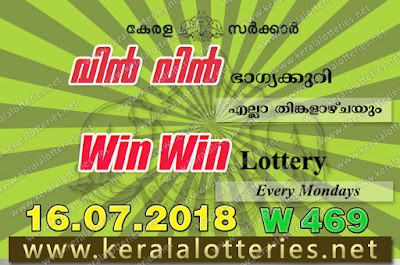 Kerala Lottery Results 16-07-2018 Win Win W-469 Lottery Result keralalotteries.net
