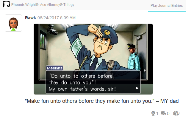 Mike Meekins father golden rule Phoenix Wright Ace Attorney Trilogy 3DS Miiverse Capcom Nintendo