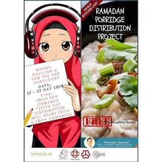 Ramadan porridge distribution poster, Yew Tee CC MAEC Facebook.