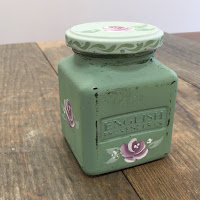 Painted jar created using Folk It's Vintage rose kit