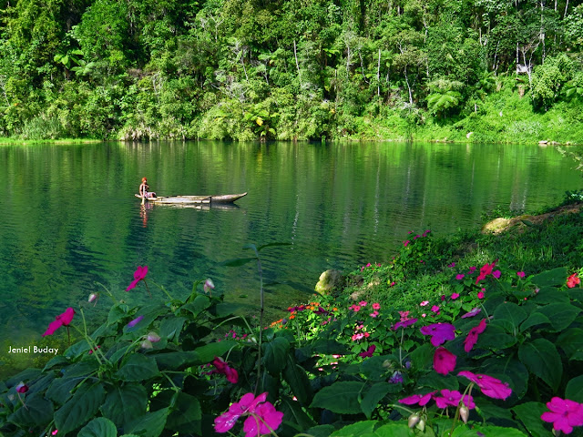 The scenic Lake Holon with bloom petals on its shores