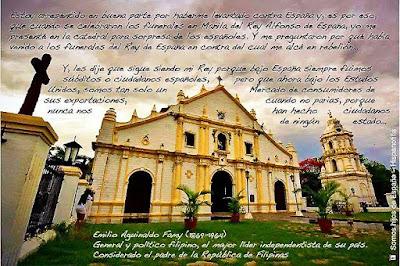 Texto de la cita anterior con una iglesia filipina de fondo